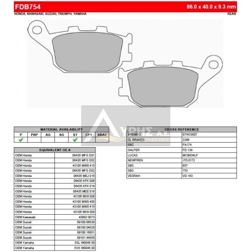 FERODO ΤΑΚΑΚΙΑ ΟΠΙΣΘΙΑ ΓΙΑ HONDA CB 1100 2013- FDB754P